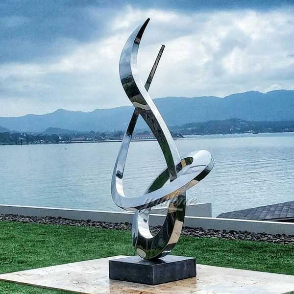 Modern large outdoor stainless steel metal sculpture for outdoors