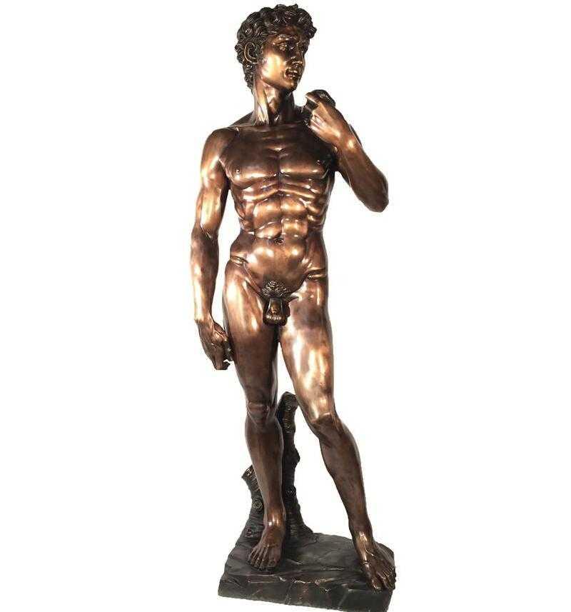Nude male figure bronze david statue for sale