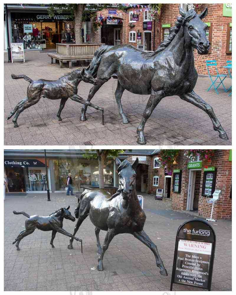 Outdoor Bronze Mare and Foal Statues for Sale