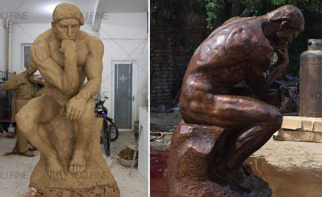 Outdoor-Famous-Classic-Bronze-The-Thinker-Statue for sale