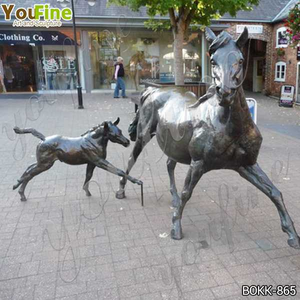 Outdoor Garden Decoration Bronze Mare and Foal Statues for Sale BOKK-865