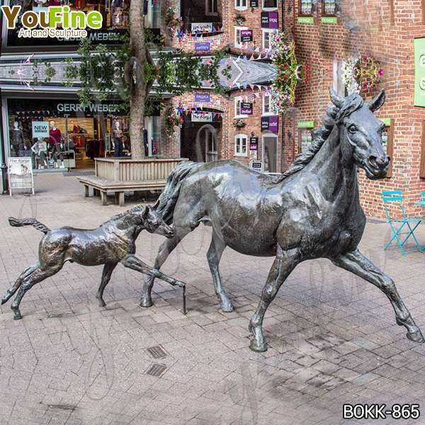 Outdoor Garden Decoration Bronze Mare and Foal Statues