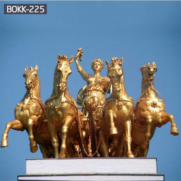 Polished Casting Brass Chariot Statue with Four Large Bronze Horse Statues for Garden Decoration for Sale BOKK-225