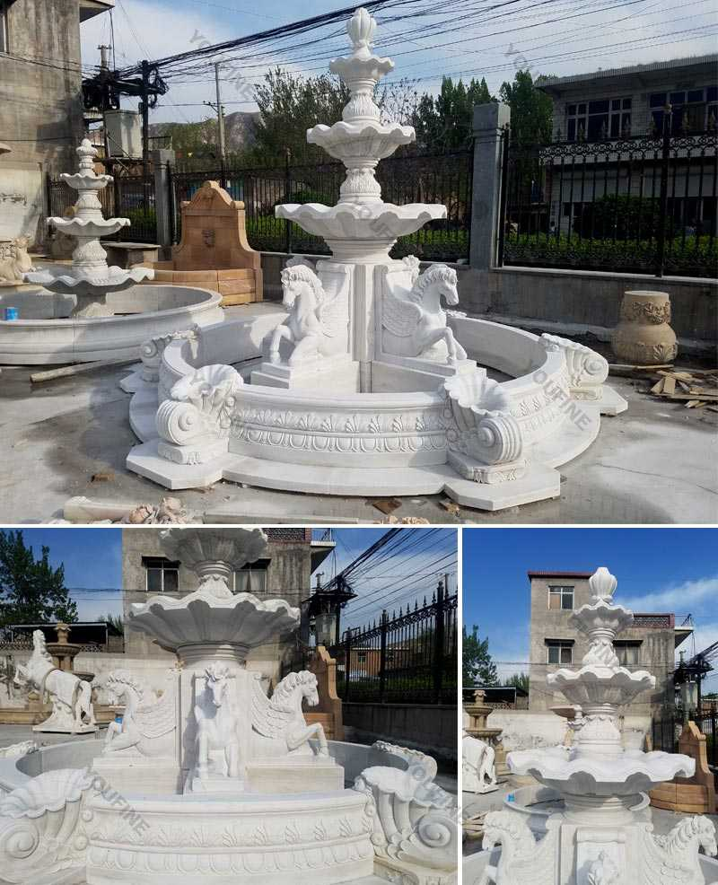 Popular outdoor garden pure white marble tiered water fountain with horse designs for sale