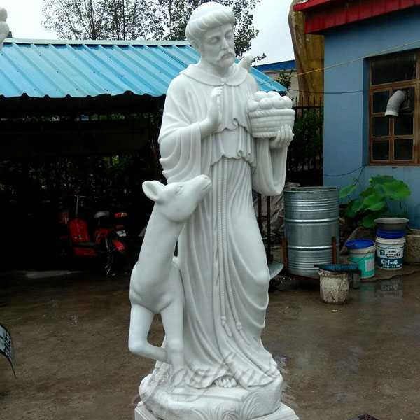 Religious life Size Sculptures of Catholic Figure St. Francis Garden Statue with Horse Design for Sale