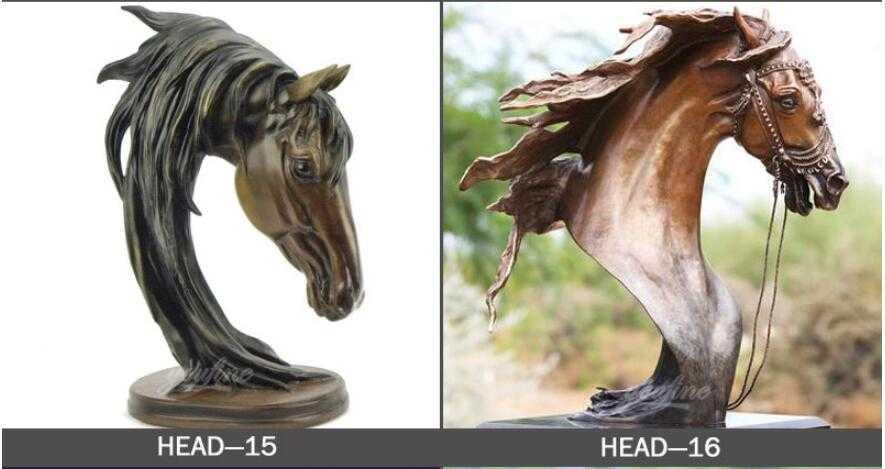 Vintage bronze horse head bust statues designs