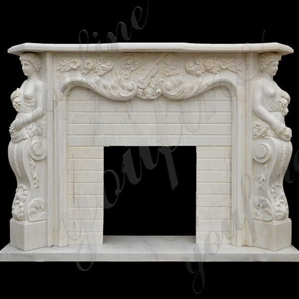White Marble Angel And Maiden Fantasia Marble Fireplace Modern Mantel Decor Design for Sale–MOKK-140