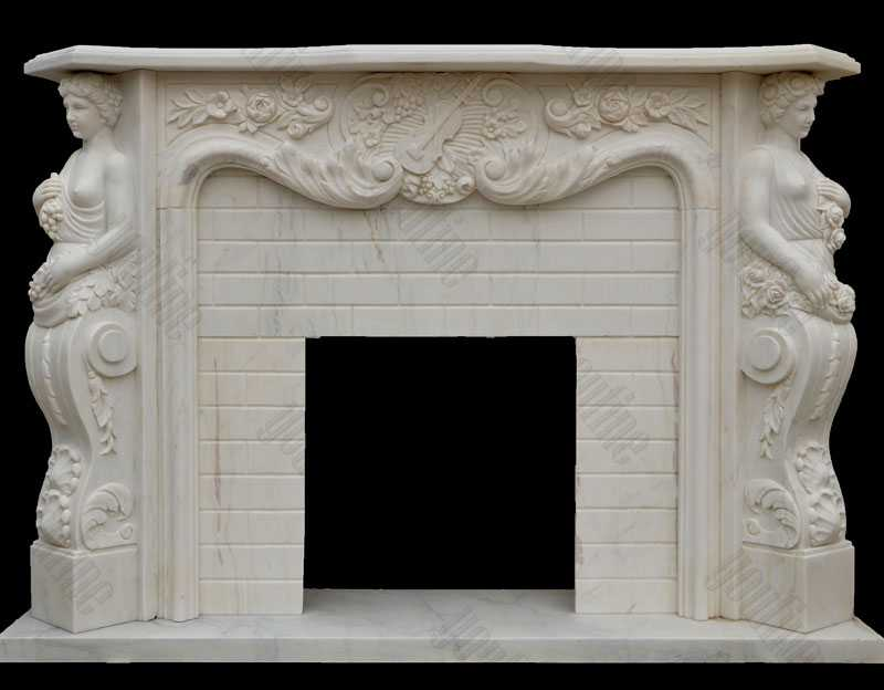 White Marble Angel And Maiden Fantasia Marble Fireplace Modern Mantel Decor Design for Sale--MOKK-140