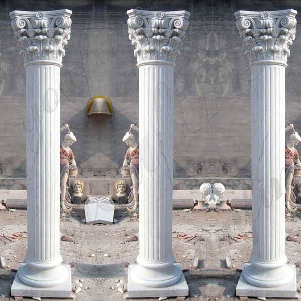White Marble Greek Column Corinthian Order Round Fluted Wedding Columns for Sale Craigslist MOKK-149