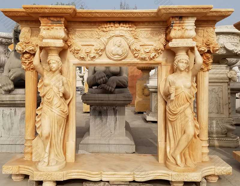 antique fireplace mantels natural stone yellow fireplace surround outdoor garden decor for sale
