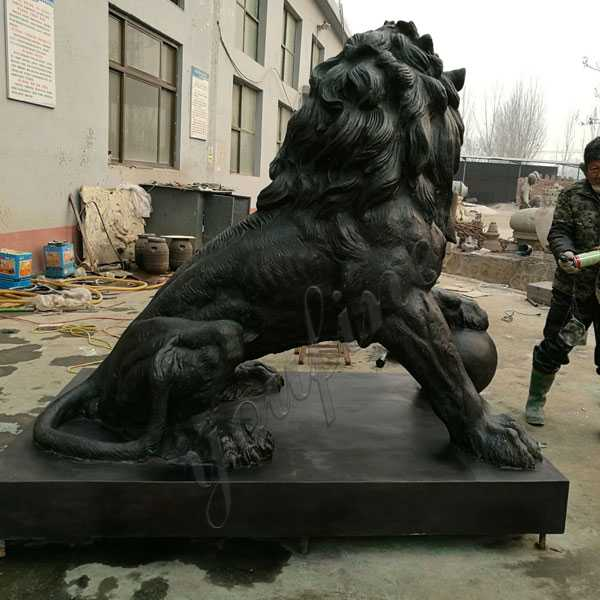 Life Size Guardian Bronze Lion Statues For Front Porch For