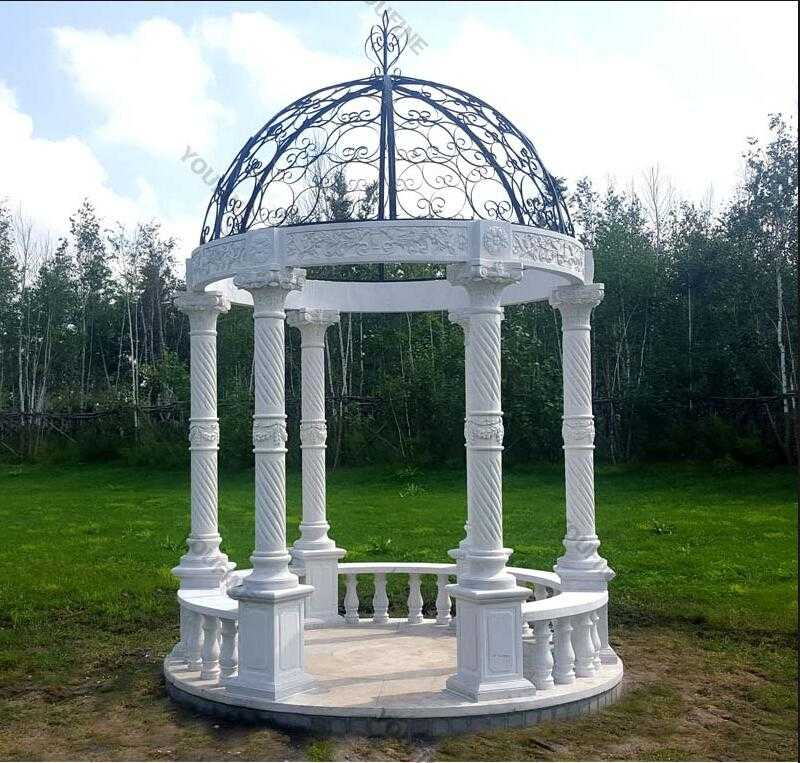 easy life size white marble gazebo for garden decor for sale
