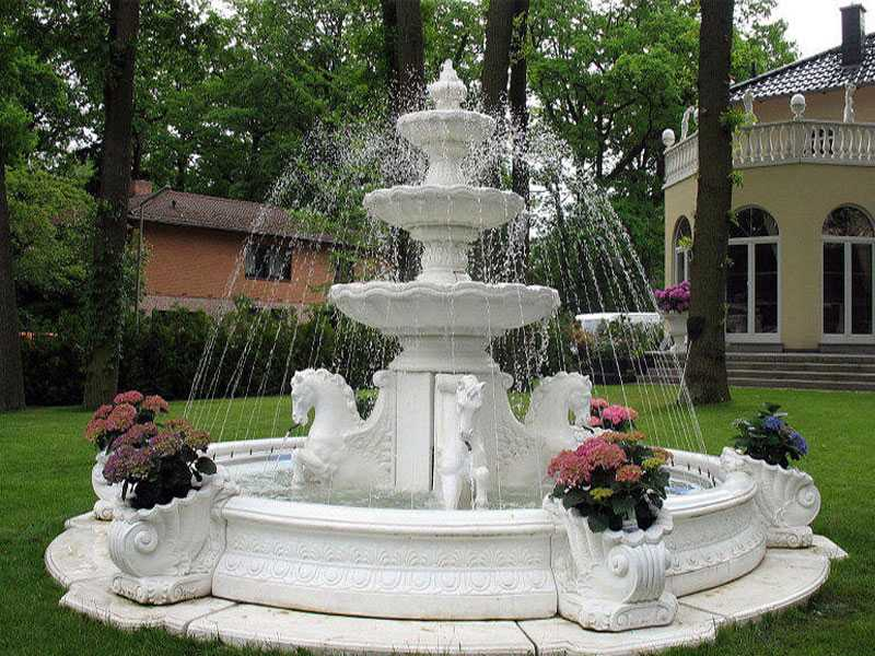 garden pure white marble tired water fountains with horse designs for sale--MOKK-84