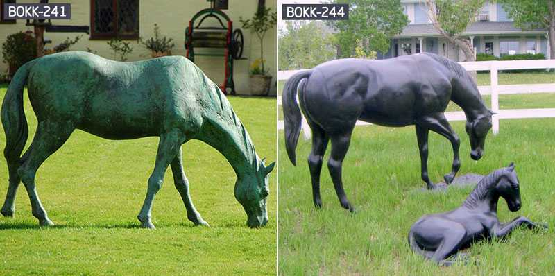 grazing horse statue lawn ornament for sale