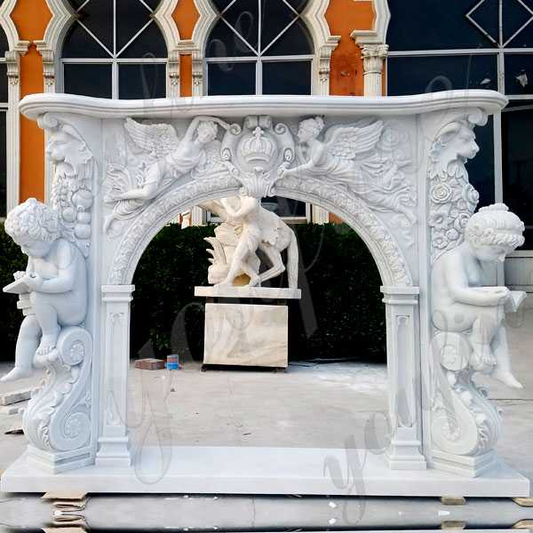 high quality modern stone fireplaces french white marble hand carved fireplace surround design for sale--MOKK--131