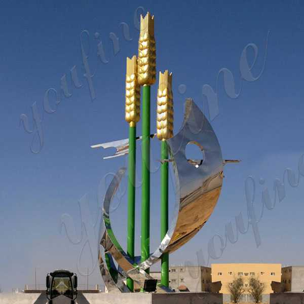 Large Outdoor Modern Metal Sculpture High Mirror Polished Stainless Steel Sculpture Design for Project for Sale CSS-75