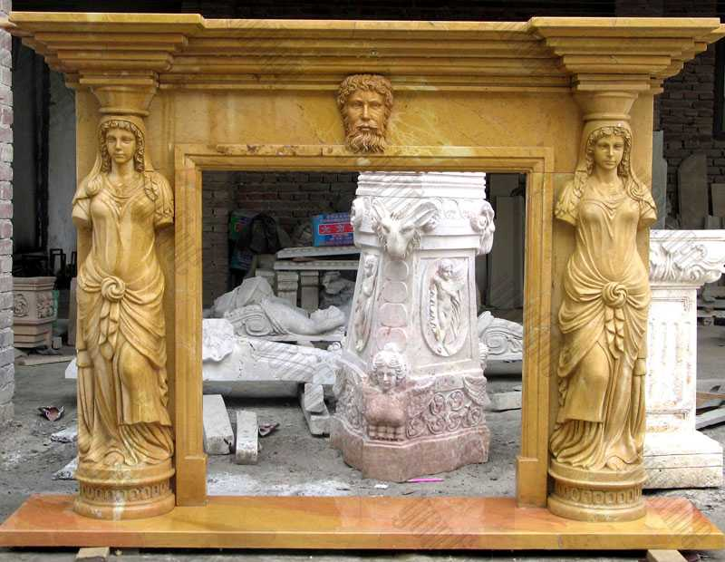 life size antique fireplace mantels with woman statue carved design for sale