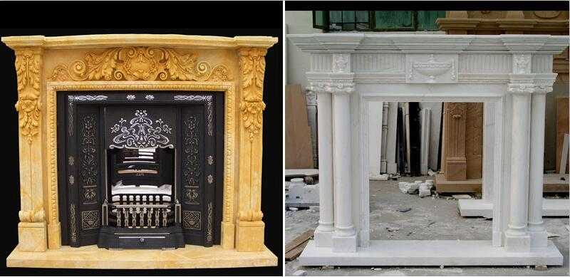 White Marble Surround Modern Marble Fireplace Mantel Designs for Sale