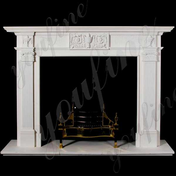 Life Size Simple Modern Stone Fireplaces Design White Outdoor Stone Fireplace Ideas for Sale–MOKK-136