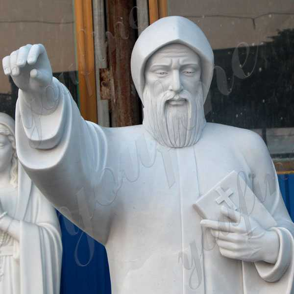 life size white marble saint charbel with bible designs for sale CHS-713