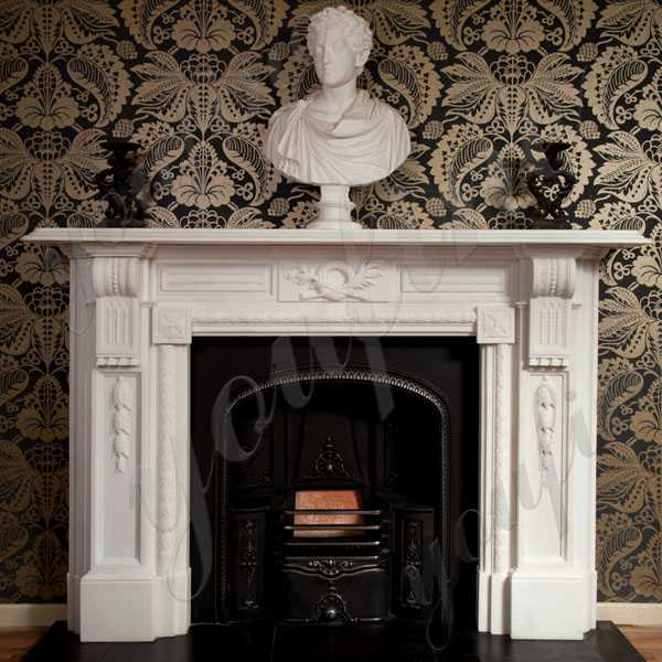 Modern Life Size Pure White Marble Regency Marble Fireplace Custom Made Fireplace Designs for Sale–MOKK-138