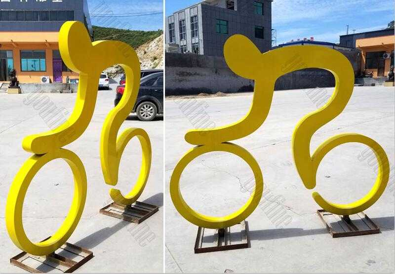 modern street art bicycle sculpture art design in stainless steel for sale