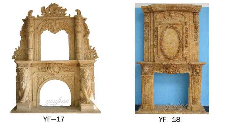Custom Made White Marble Fireplace Mantels For Sale