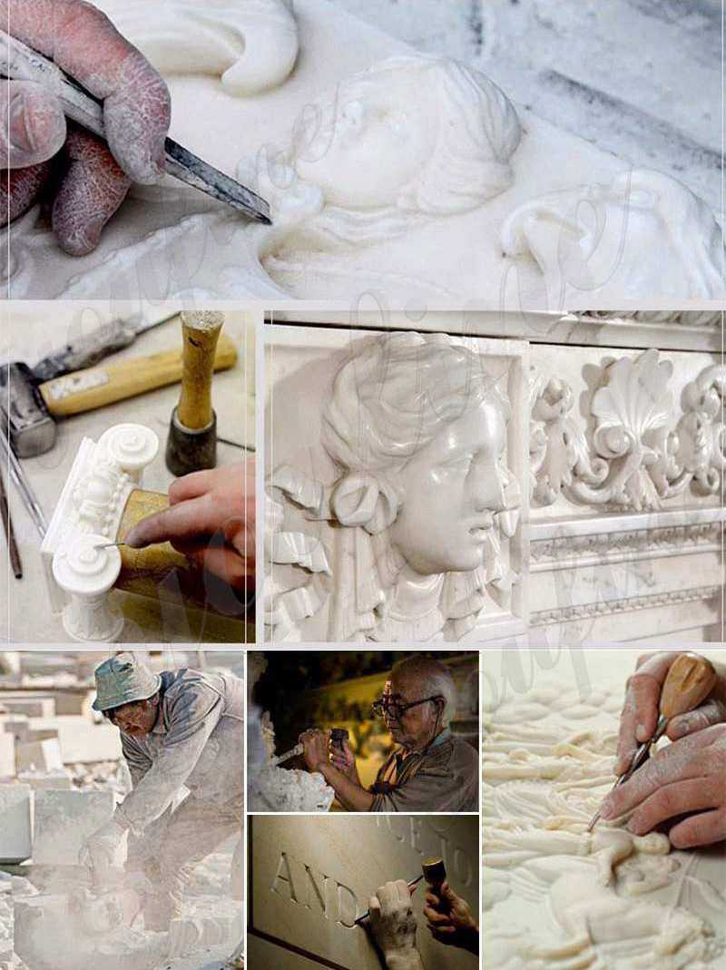 process of White Marble Saint Charbel with Bible Design