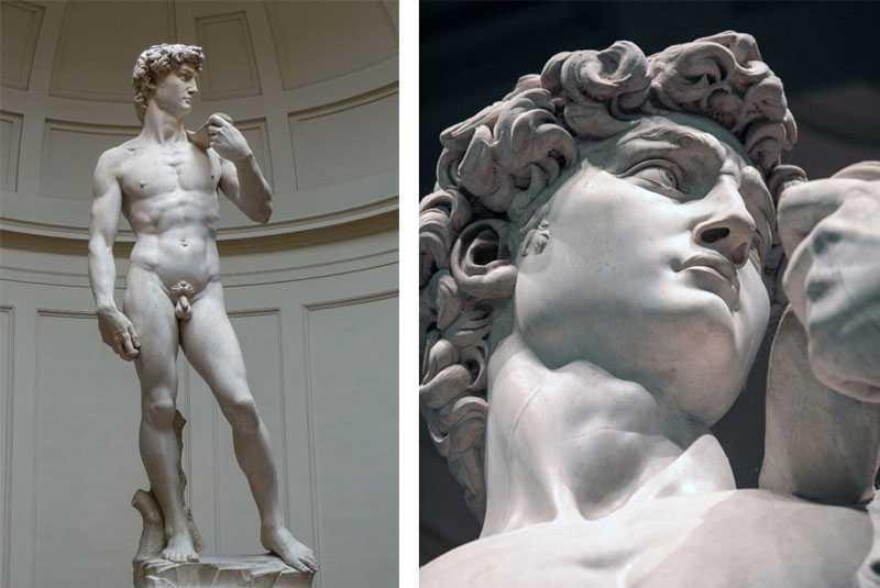 replica of david statue in marble