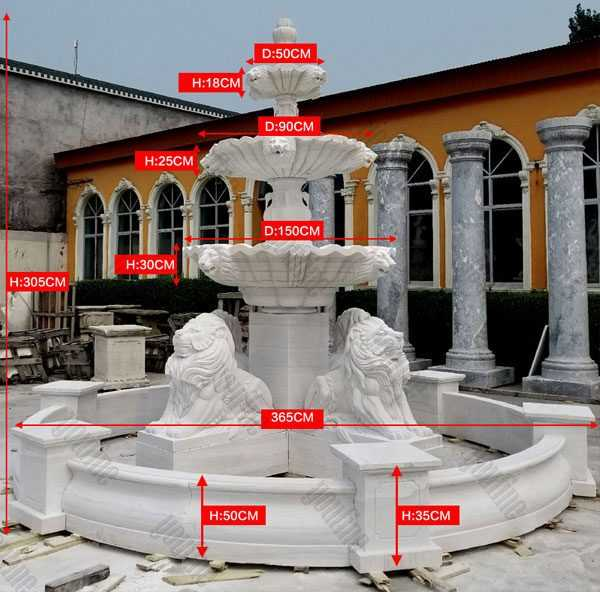 tiered patio outdoor white marble fountain with four lion statue design for sale