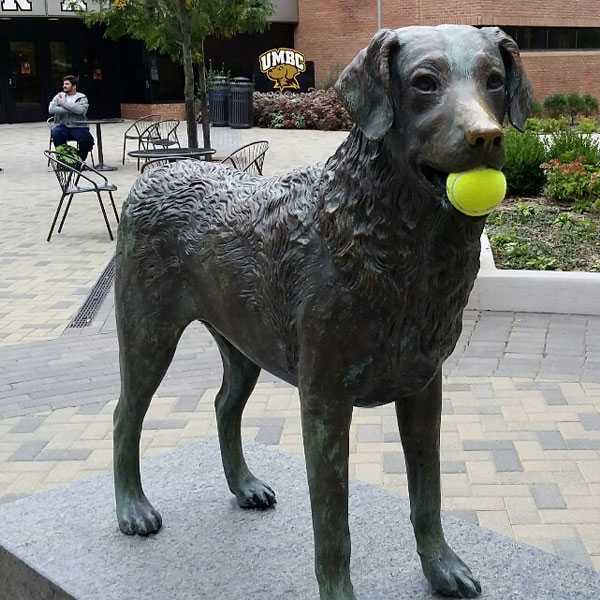 Custom Made Bronze Dog Statue Life Size Black Lab Outdoor Lawn Ornamental Statue with Ball for Sale BOKK-549