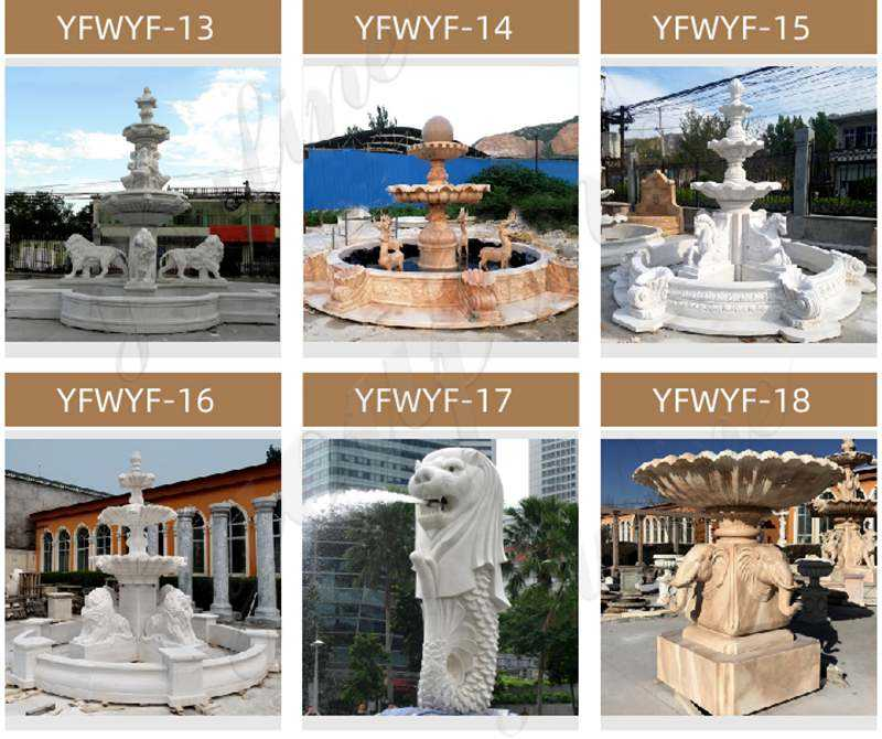 Large 3 Tiered Yellow Marble Fountain