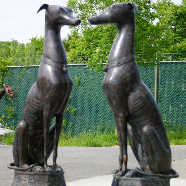 Large Italian Bronze Sitting Greyhound Statue Life Size Dog Lawn Ornaments Statues for Sale BOKK-547