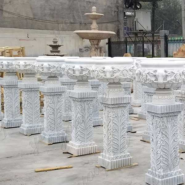 Large White Marble Wholesale Planter With Pure Hand Carved Design for Garden or Street Decor on Stock for Sale MOKK-186