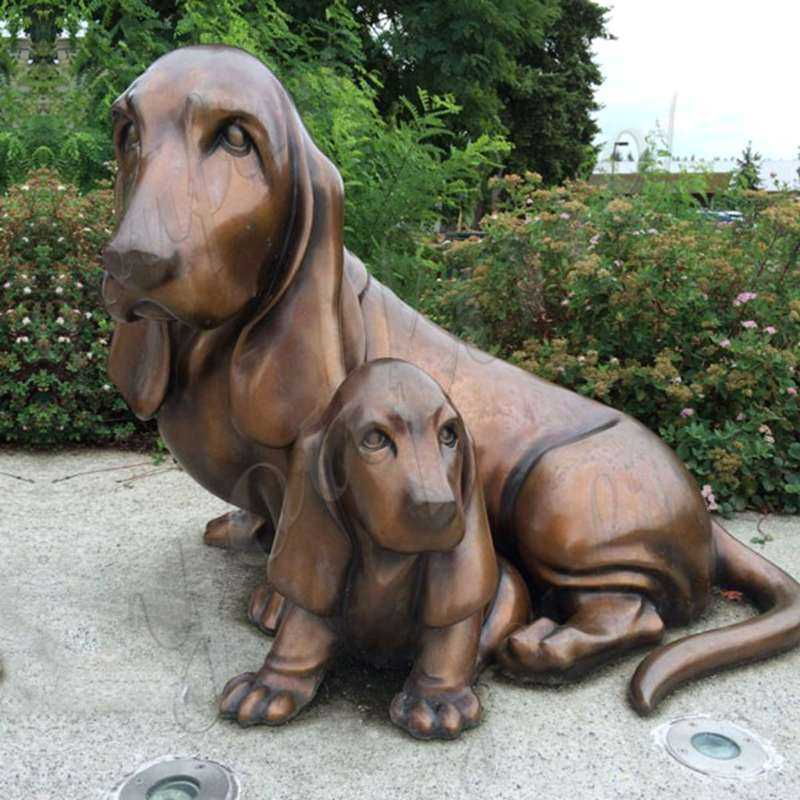 Life Size Bronze Dachshund Garden Memorial Statue Metal Dog Yard Decor Art