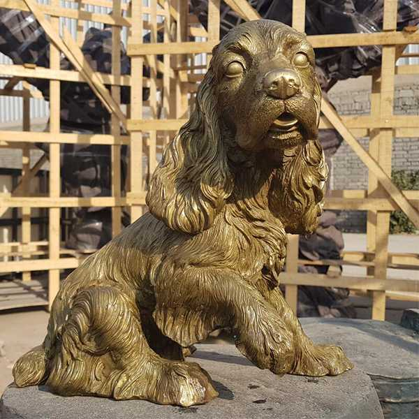 Life Size Custom Brass English Springer Spaniel Garden Statues for Outdoor Memorial at Garden for Sale BOKK-600