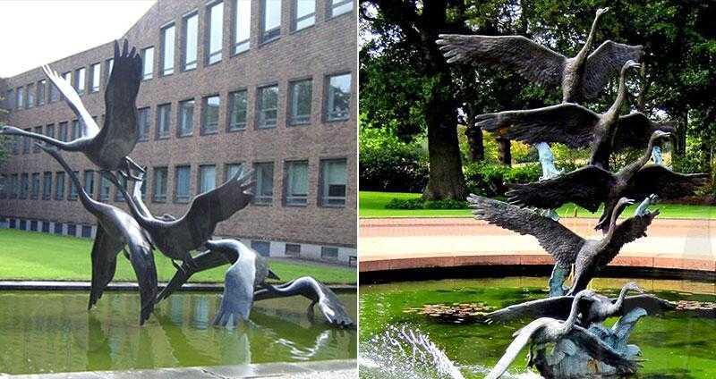 bronze cranes garden statues for sale