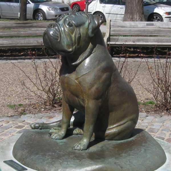 Large Modern Garden Sculptures: Large Antique Bronze Bulldog Statue Modern Garden Dog