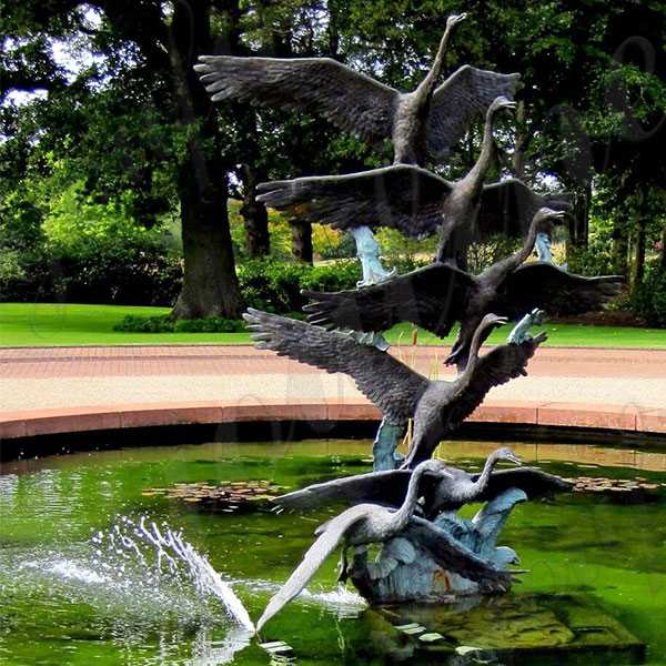large outdoor crane statue antique bronze cranes garden statues for pool decor for sale BOKK-598