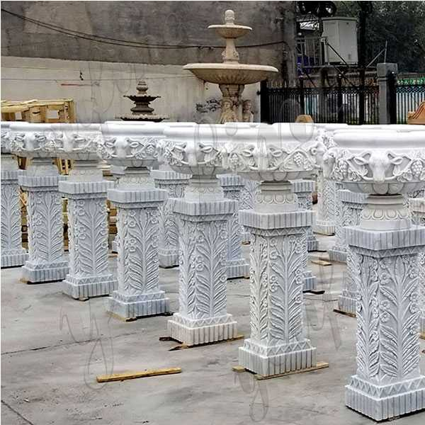 large white marble wholesale planter with pure hand carved design for street decor on stock for sale