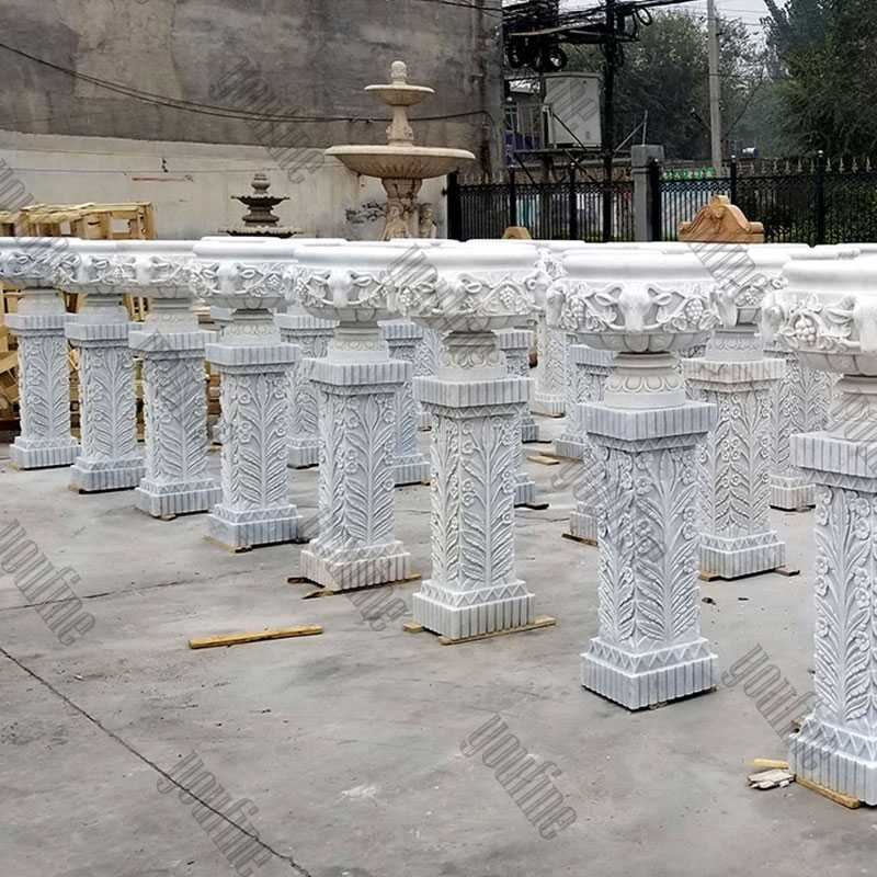 large white marble wholesale planters with pure hand carved designs for garden or street decor on stock for sale