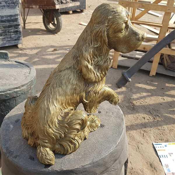 life size brass english springer spaniel garden statues for memorial at garden for sale
