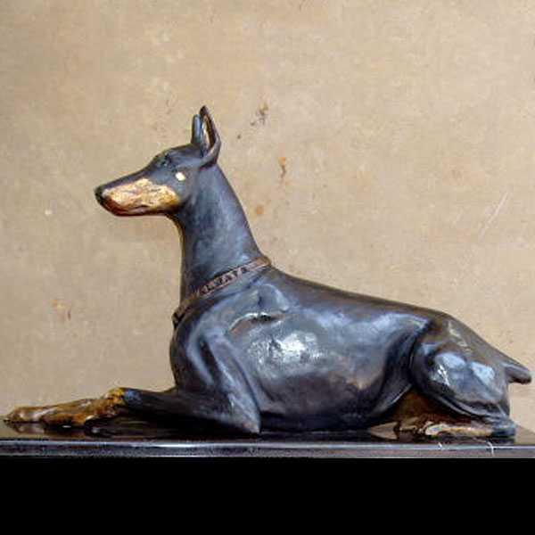life size outdoor doberman pinscher statue bronze dog garden art decor statue for sale