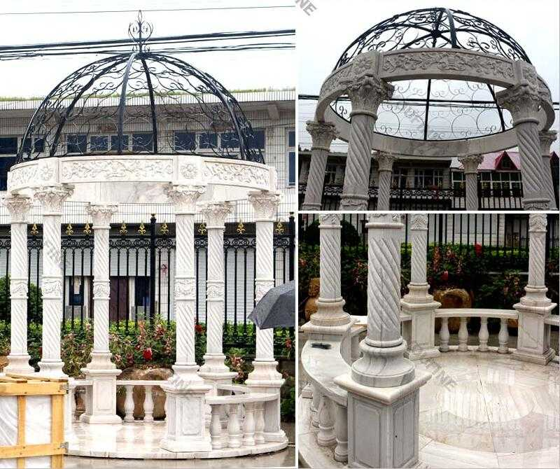 life size white marble gazebo for garden decor for sale