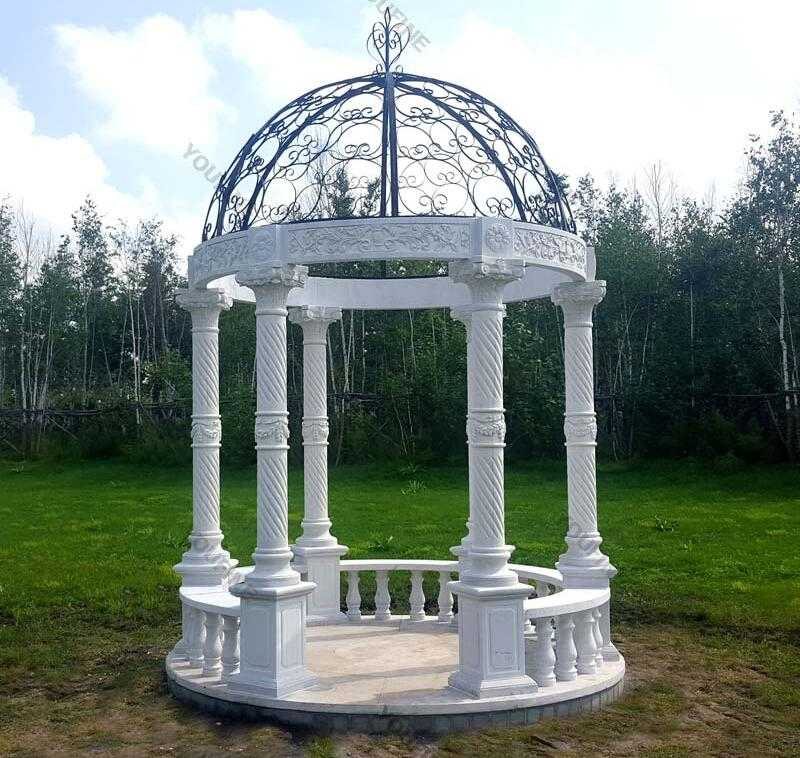 popular white marble gazebo design for garden decor for sale