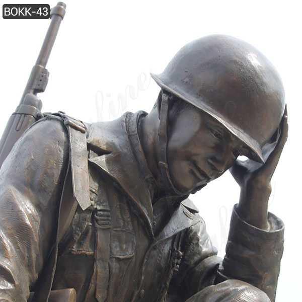 Casting bronze war garden statue life size kneeling soldier statue heavy cast sculpture monument