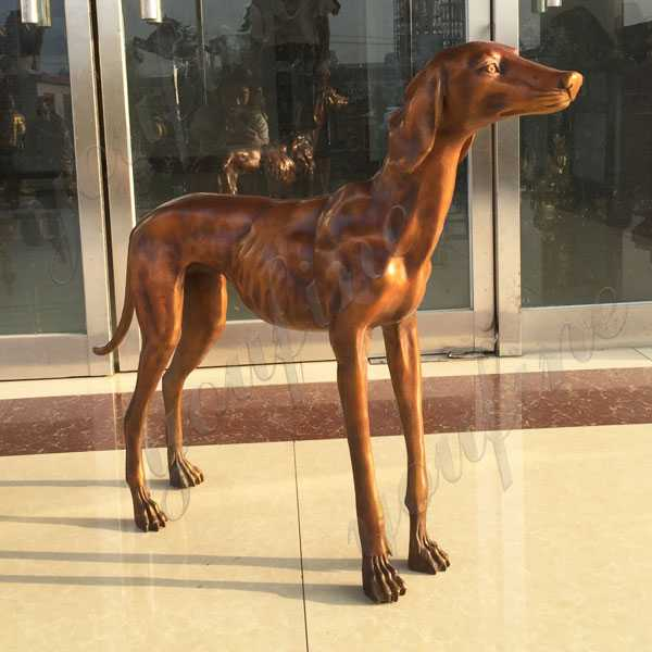 BOKK-651 Life Size Bronze Greyhound Garden Sculpture Custom Antique Brass Dog Statue Greyhound Art for Memorial for Sale