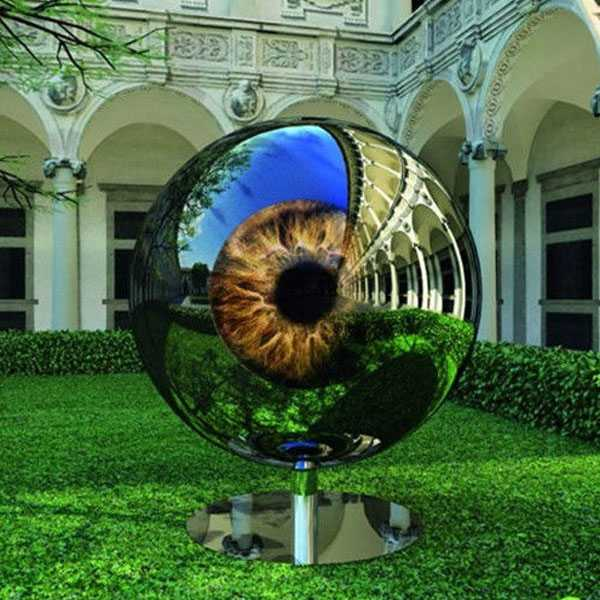 CSS-80 Modern Mirror Polished Stainless Steel Eyeball Design Steel Artworks Artists Sculpture for Garden Decoration for Sale