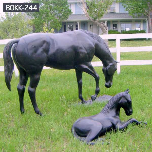 Do You Like The Bronze Mother and Child Horse Sculpture?-BOKK-244