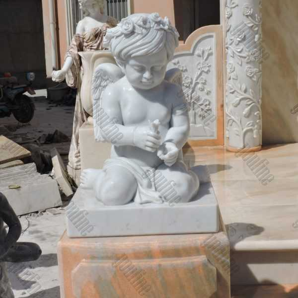 Giant high polished marble headstone with angel cherubs carving tombstone for sale from factory supply with competitive price